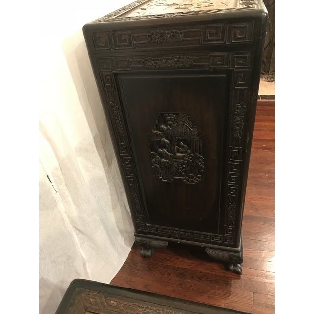 Antique Chinese Carved Camphor Wood Trunk and Dresser Set With Inlaid Stone For Sale In Los Angeles - Image 6 of 12