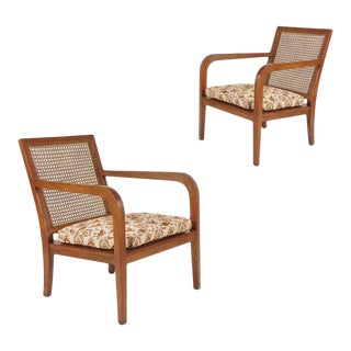 1940s French Art Moderne Wood Frame & Cane Chairs With Heavy Horsehair Cushions - a Pair For Sale