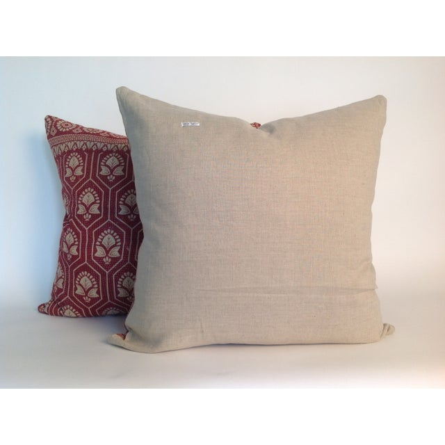 Vintage Indian Red Kantha Quilt Pillows - A Pair - Image 3 of 4