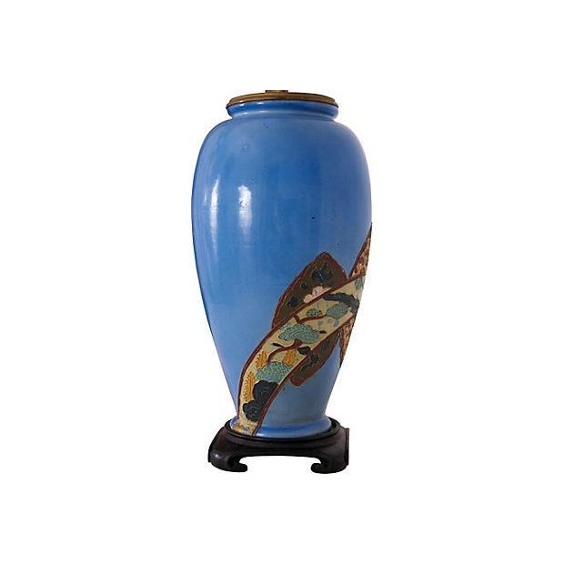 Antique Chinoiserie Blue Vase Lamp For Sale - Image 4 of 6