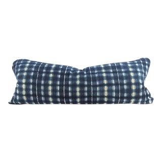 Indigo Plaid Mudcloth Large Lumbar Pillow For Sale