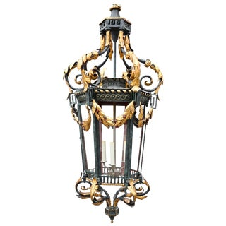 Neoclassical Iron and Tole Hall Lantern, Early 20th Century For Sale