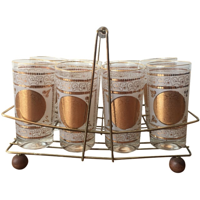 Gold Highball Glasses With Caddy - Set of 8 - Image 1 of 7