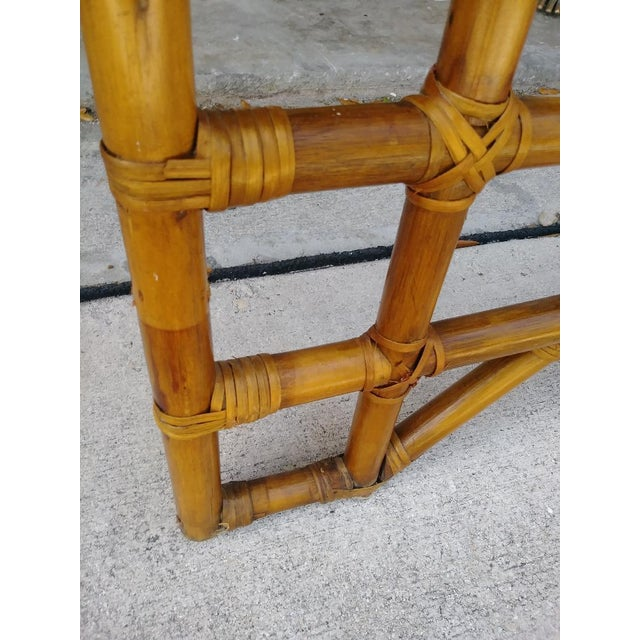Vintage 70's Monumental Bamboo Chinese Chippendale Palm Beach Regency Canopy Queen Size Bed Frame For Sale In West Palm - Image 6 of 9
