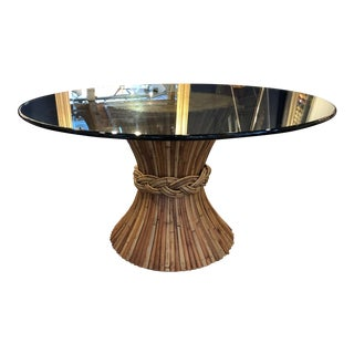 1960s Hollywood Regency Sheaf of Wheat Glass Top Dining Table For Sale