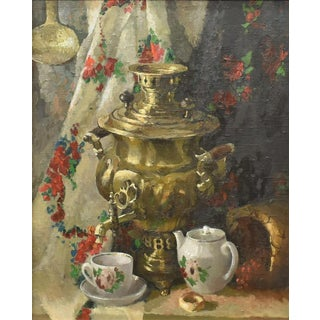 Superb Russian Still Life Oil Painting W Samovar For Sale