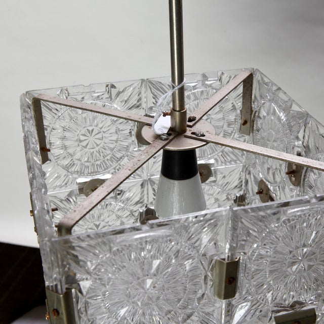 Kalmar Mid Century Glass Cube Pendant Light in the Style of Kalmar For Sale - Image 4 of 7
