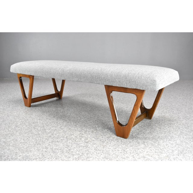 Mid-Century Modern Upholstered Bench For Sale - Image 4 of 10