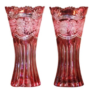 Pair of Midcentury French Cut Crystal Trumpet Vases With Frosted Floral Motifs For Sale