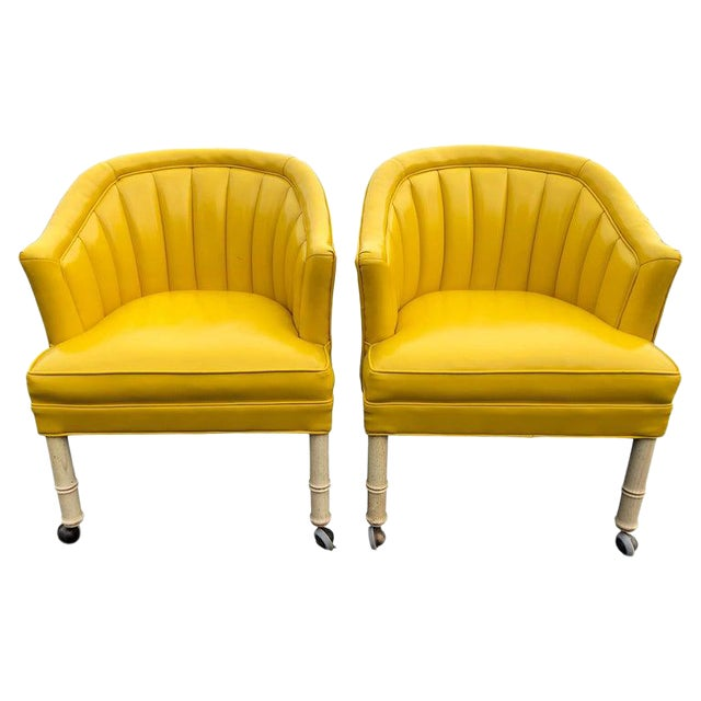 1970s Vintage Yellow Channel Back Vinyl Chairs- A Pair For Sale