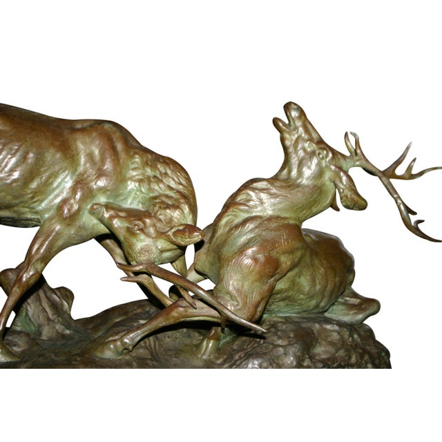 Early 20th Century Bronze Fighting Stags Sculpture by Thomas Francois Cartier For Sale - Image 4 of 6