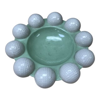 Vintage Modern Round Green & White Golf Balls Ashtray For Sale