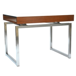 Bernhardt Design Stainless Glass Walnut Side Table For Sale