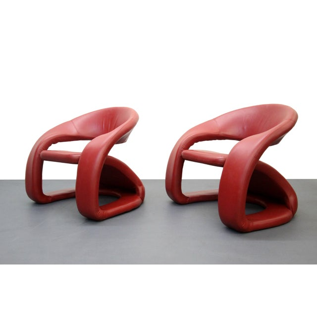 Memphis Milano Red Leather Cantilevered Chairs A Pair