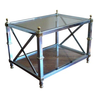 Maison Jansen Style Chrome & Brass End Table For Sale
