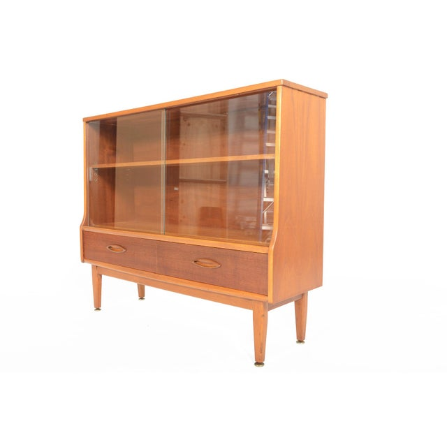 Jentique Narrow Teak & Glass Bookcase - Image 9 of 9