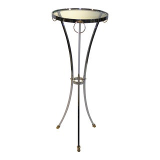 Elegant Empire Style Chrome and Brass Pedestal Table With Hoof Feet For Sale