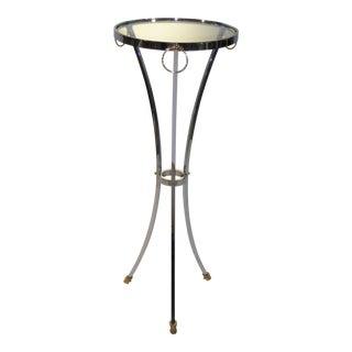 Elegant Maison Jansen Empire Style Chrome and Brass Pedestal Table