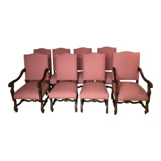 Modern Carved Wood and Upholstered Chippendale Style Dining Chairs- Set of 8 For Sale