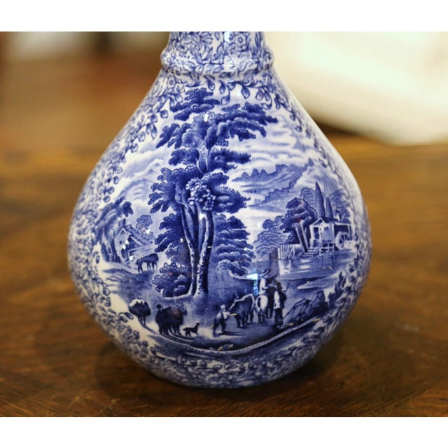 Ceramic Early 20th Century English Blue and White Painted Faience Delft Vases - a Pair For Sale - Image 7 of 11