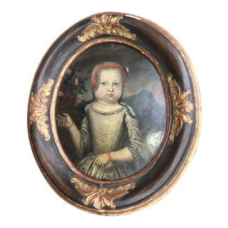 17th Century Portrait of a Young Girl Oil Painting on Copper For Sale