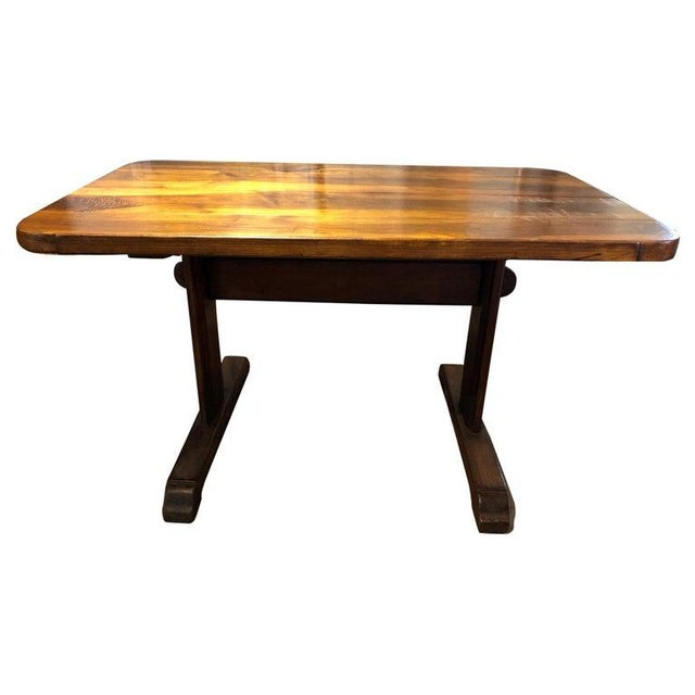 19th Century French Provincial Circassian Walnut Table With Trestle Base For Sale In Washington DC - Image 6 of 6