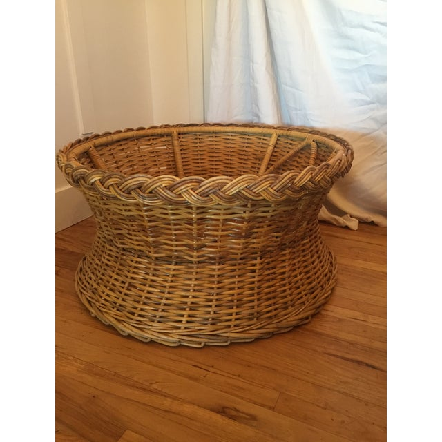 1970s Boho Chic Round Wicker Coffee Table For Sale - Image 4 of 11