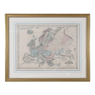 Giltwood Framed Matted Map / Europe For Sale