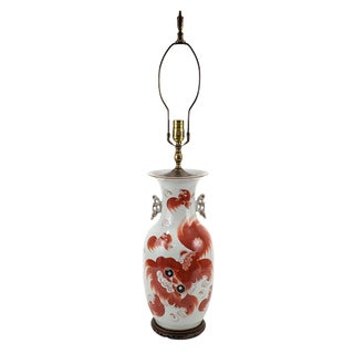 1950s Chinese Pottery Foo Dog & Calligraphy Lamp For Sale