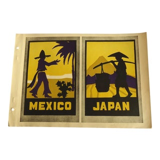 1930 Art Deco Mexico & Japan Poster Designs Print Character Culture Citizenship Guides