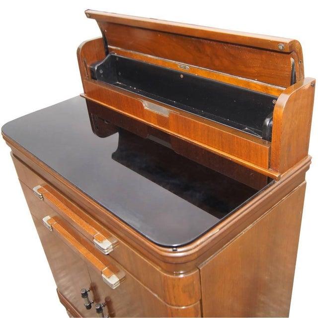 Metal Art Deco Hamilton Donald Deskey Walnut Dental Cabinet For Sale - Image 7 of 9