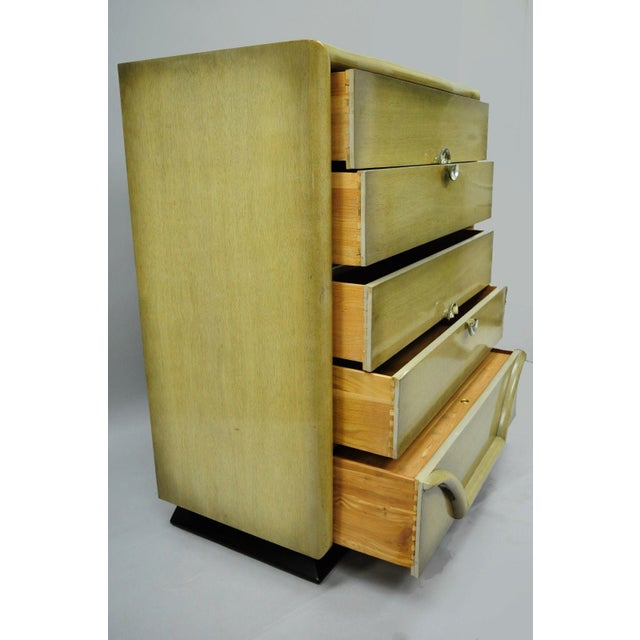 Art Deco Vintage Tri-Bond Mid Century Modern Bone Dresser Chest Art Deco Gilbert Rohde Era For Sale - Image 3 of 11