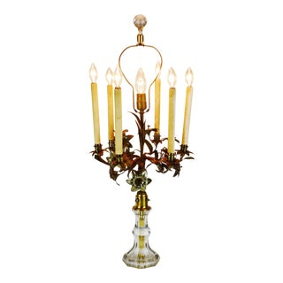 Antique Toleware Candelabra Table Lamp With Marble Base For Sale