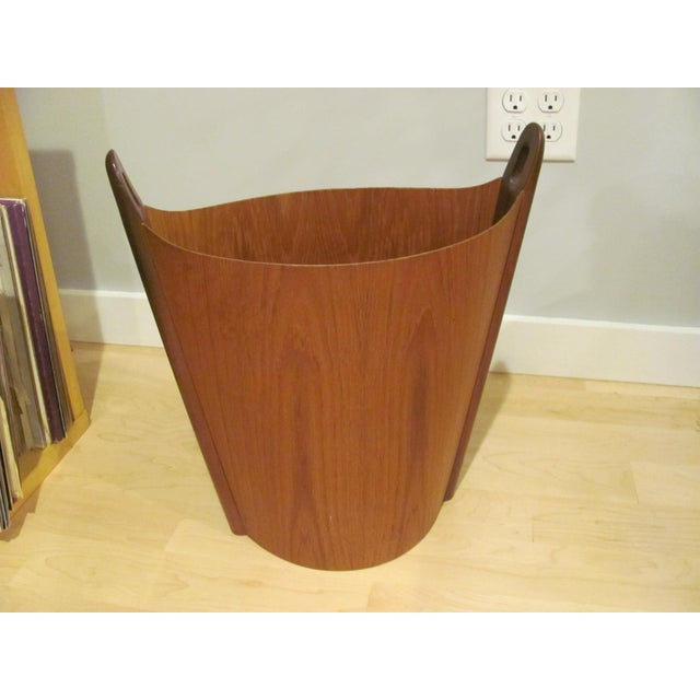 Vintage P. S. Heggen Teak Waste Basket Designed by Einer Barnes For Sale - Image 9 of 9