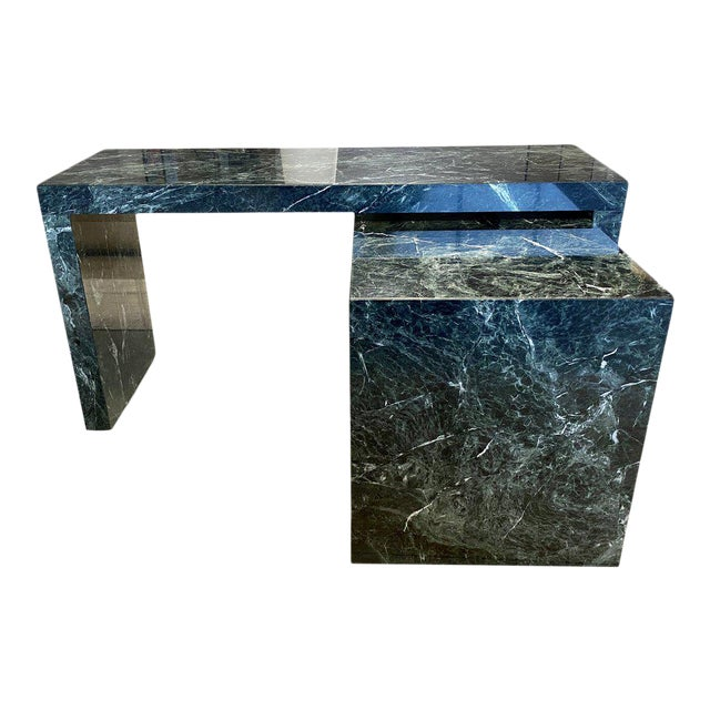 1970s Italian Green Marble Desk With Return For Sale