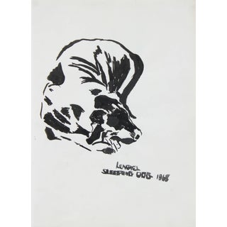 """Laura Lengyel """"Sleeping Dog"""" Ink on Paper Drawing, 1968 For Sale"""
