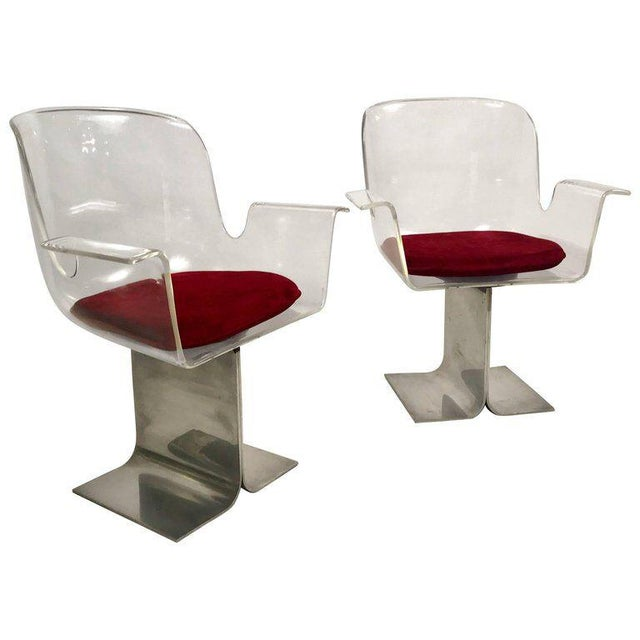 Pair of Pace Lucite & Aluminum Dining or Conference Swivel Chairs by i.m. Rosen For Sale - Image 9 of 13