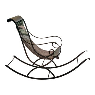 Mid Century French Iron Rocking Chair With Mesh Sling Seat For Sale