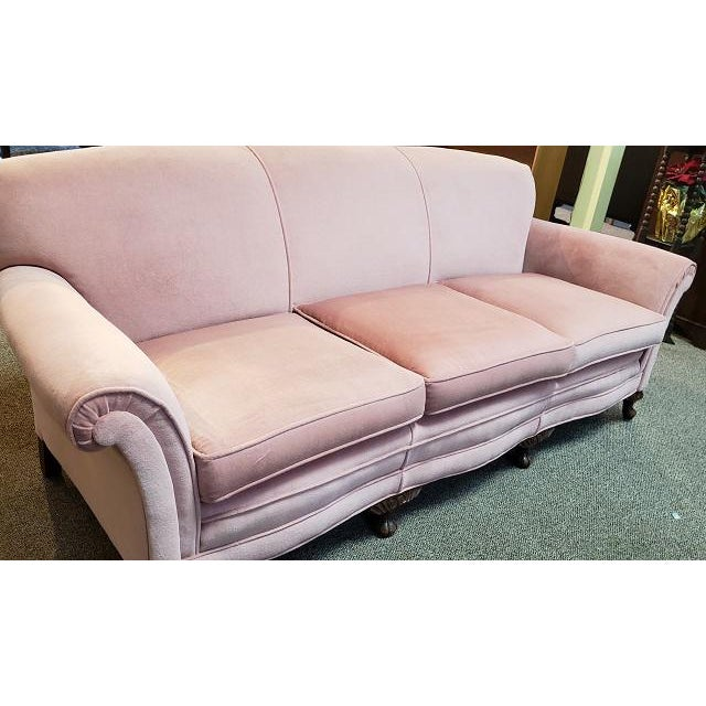 1960s Vintage Sofa W/ Light Pink Fabric C.1960s For Sale - Image 5 of 6