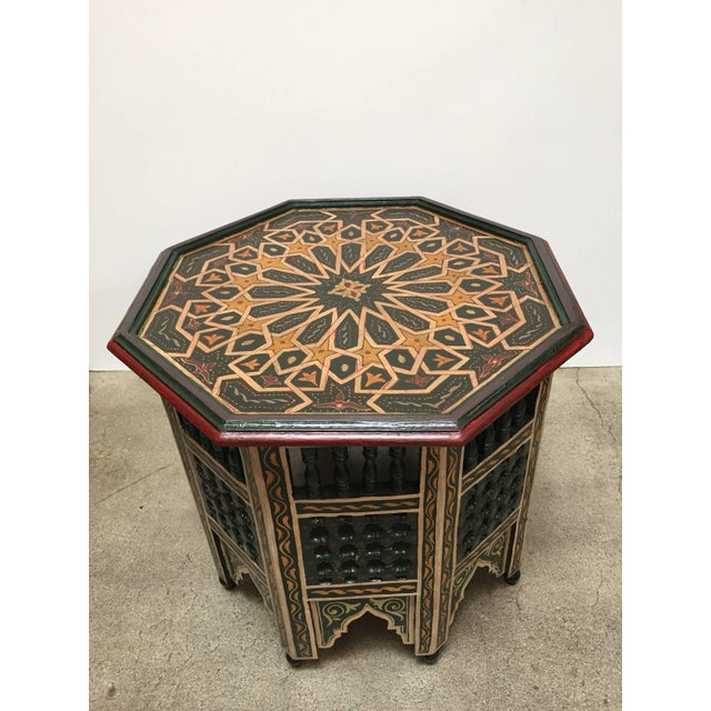 Moroccan Hand-Painted Dark Green Octagonal Side Table For Sale - Image 10 of 10