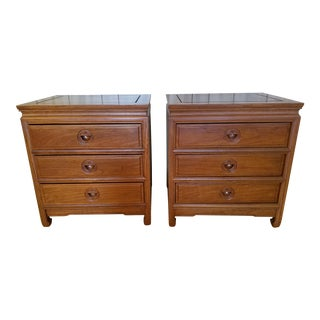 Asian Rosewood Nightstands With Longevity Symbol - a Pair