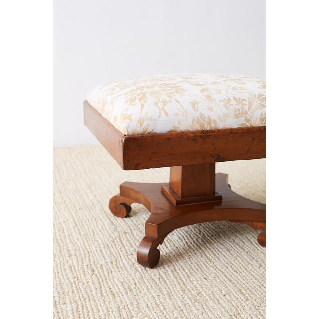 Yellow Pair of Biedermeier Carved Footstools With Fortuny Upholstery For Sale - Image 8 of 13