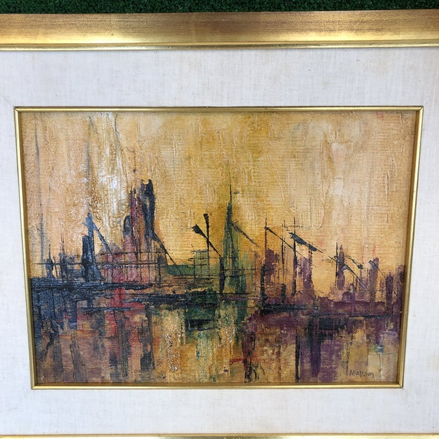 Beautiful original painted abstract dock scene in golden hues. Signed but illegible. Displayed in a gilded wood frame