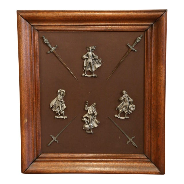 19th Century French Framed Four Musketeers and Swords Display Metal Figures For Sale