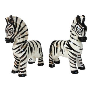 Pair of Ceramic Zebras by Lefton For Sale
