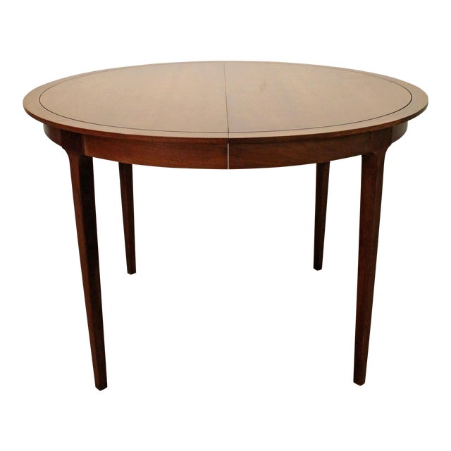 Mid-Century Modern Drexel Counterpoint Round Extension Walnut Dining Table #14 For Sale