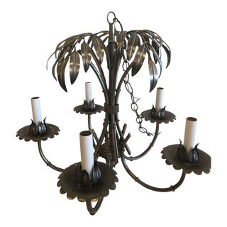 Vintage Faux Bamboo Palm Frond Tree Chandelier