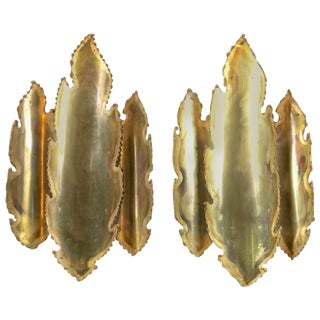 1970s Vintage Svend Aage Danish Brass Sconces- a Pair For Sale
