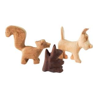 Small Folk Art Carved Wood Squirrel, Dog, Skunk - Set of 3 For Sale