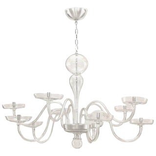 1930s Italian Murano Clear Glass Chandelier For Sale